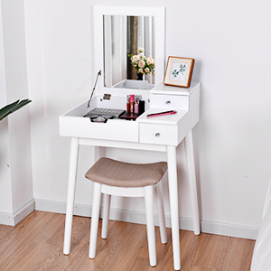 Well-Built Vanity Table with Stool