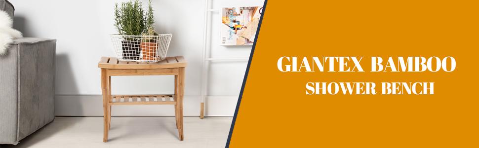 Amazon Com Giantex Bamboo Shower Seat Bench Bathroom Spa