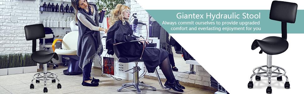 Amazon.com: Giantex - Silla de salón hidráulica con ruedas y ...
