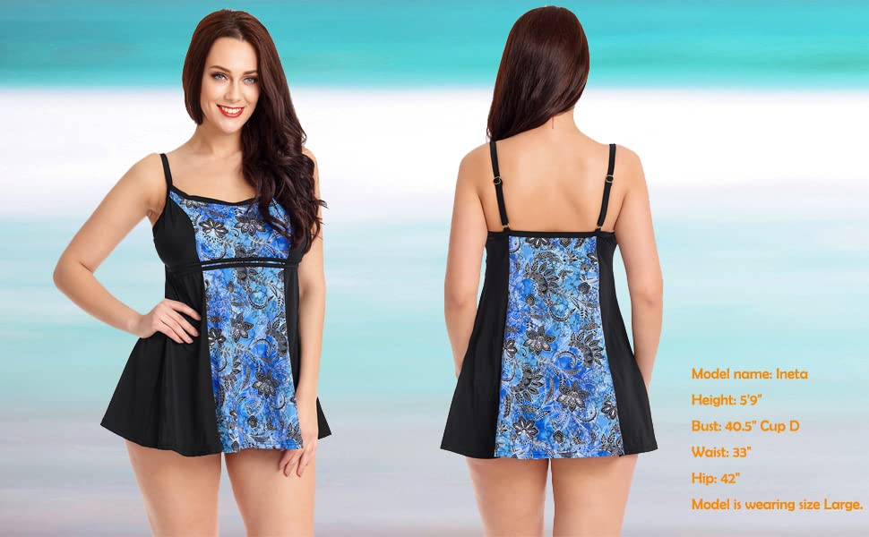 5903754470391 Lookbook Store Women s One Piece Printed Swimdress Skirted Swimsuit ...