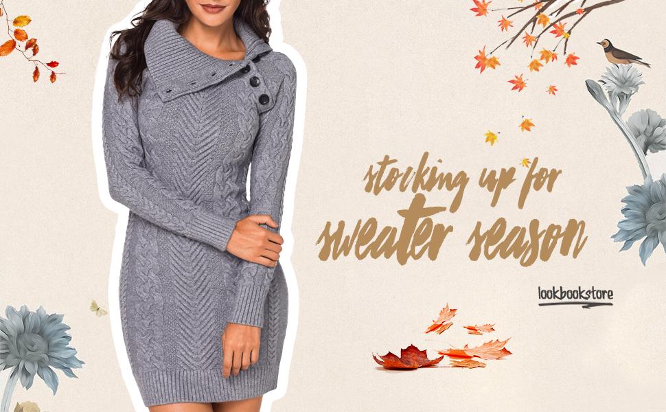 47da7ca456c Lookbook Store Women s Asymmetric Button Collar Cable Knit Bodycon Sweater  Dress