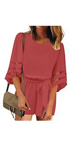 Women's self tied round neck mesh panel bell sleeve romper jumpsuit playsuit pants summer cute