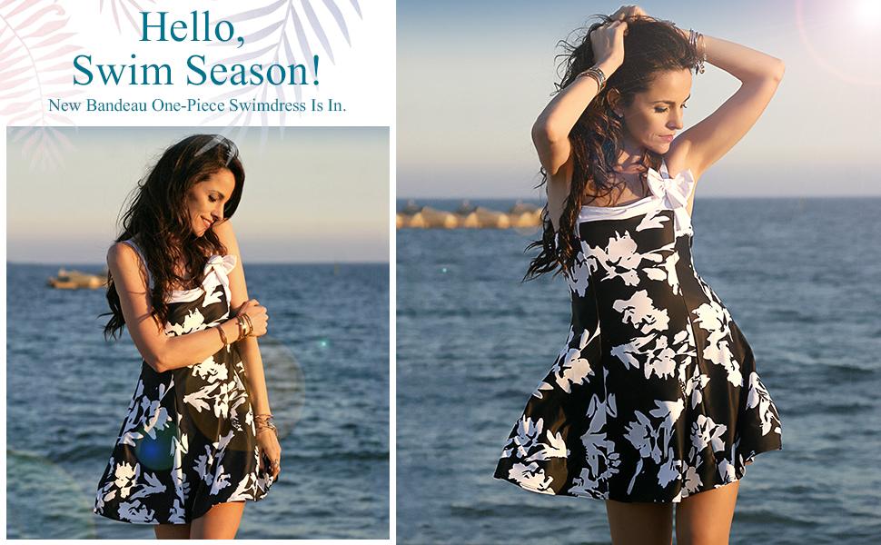 20631998fdf9 Lookbook Store Womens Bow Swimdress Bandeau One-Piece Skirt Bathing ...