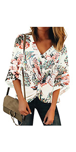 Women's Casual Twist Knot Blouse Mesh Panel Bell Sleeve Shirt Tops Summer Floral Printed Multicolor