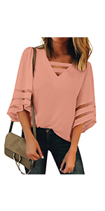 Women's Casual Strappy Striped V Neck Mesh Panel Blouse Tops 3/4 Bell Sleeve Shirt