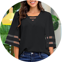summer casual sexy V neck shirt tops for women