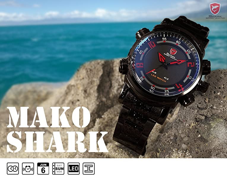 Amazon.com: SHARK, color negro y rojo LED Fecha alarma de ...