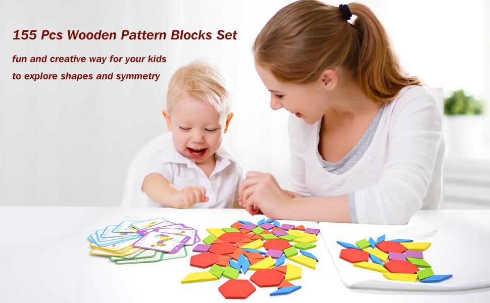 wooden pattern blocks set