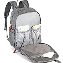 Diaper Bag Backpack, RUVALINO Multifunction Travel Back Pack Maternity Baby Changing Bags, Large Capacity, Waterproof and Stylish, Gray    Product Description
