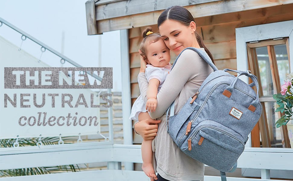 FCYUHs5FRrKm. UX970 TTW Diaper Bag Backpack, RUVALINO Multifunction Travel Back Pack Maternity Baby Changing Bags, Large Capacity, Waterproof and Stylish, Gray    Product Description