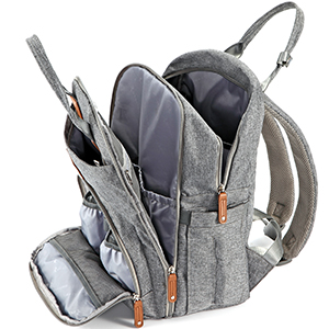 J9CO1MXQVa0. UX300 TTW Diaper Bag Backpack, RUVALINO Multifunction Travel Back Pack Maternity Baby Changing Bags, Large Capacity, Waterproof and Stylish, Gray    Product Description