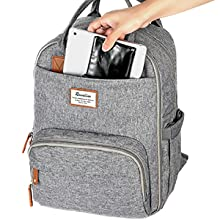 Ubb5YwFgQRa8. UX220 TTW Diaper Bag Backpack, RUVALINO Multifunction Travel Back Pack Maternity Baby Changing Bags, Large Capacity, Waterproof and Stylish, Gray    Product Description