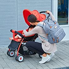 gGQ99J8XTaKt. UX220 TTW Diaper Bag Backpack, RUVALINO Multifunction Travel Back Pack Maternity Baby Changing Bags, Large Capacity, Waterproof and Stylish, Gray    Product Description