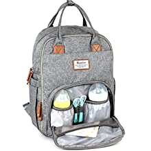 vQTmoqTQCr. UX220 TTW Diaper Bag Backpack, RUVALINO Multifunction Travel Back Pack Maternity Baby Changing Bags, Large Capacity, Waterproof and Stylish, Gray    Product Description