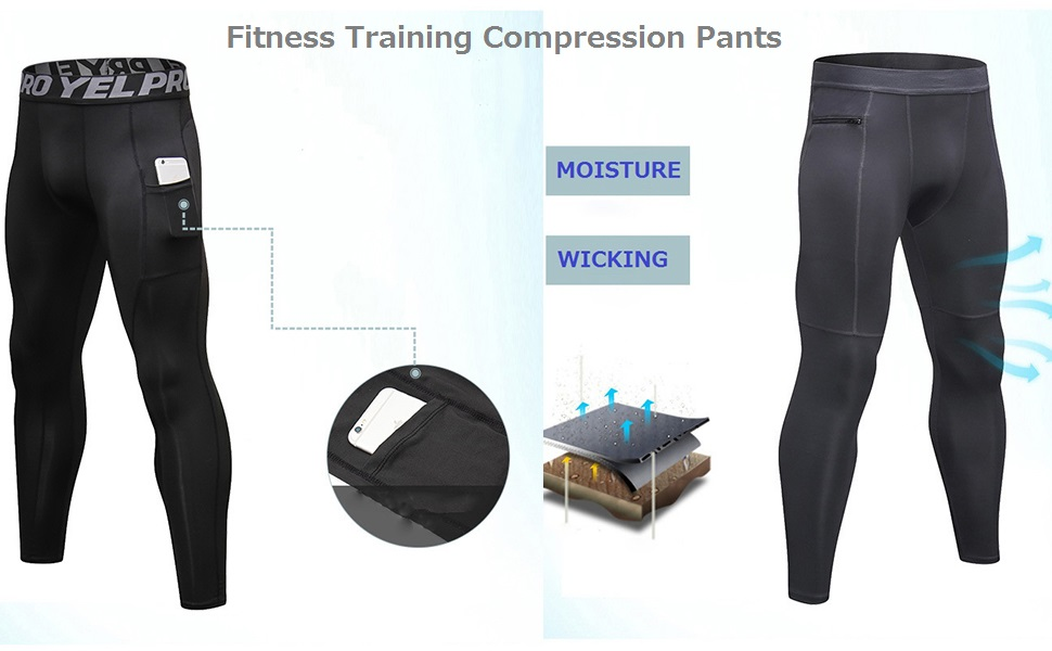Men/'s Workout Compression Legging Workout Gym Pants with Pocket Moisture Wicking