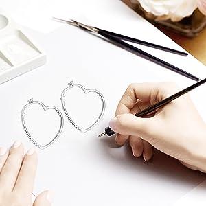 0983b8aac Amazon.com: LUHE Heart Shaped Sterling Silver Hoop Earrings White ...