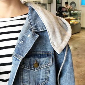 Blue Hoodie Denim Jacket