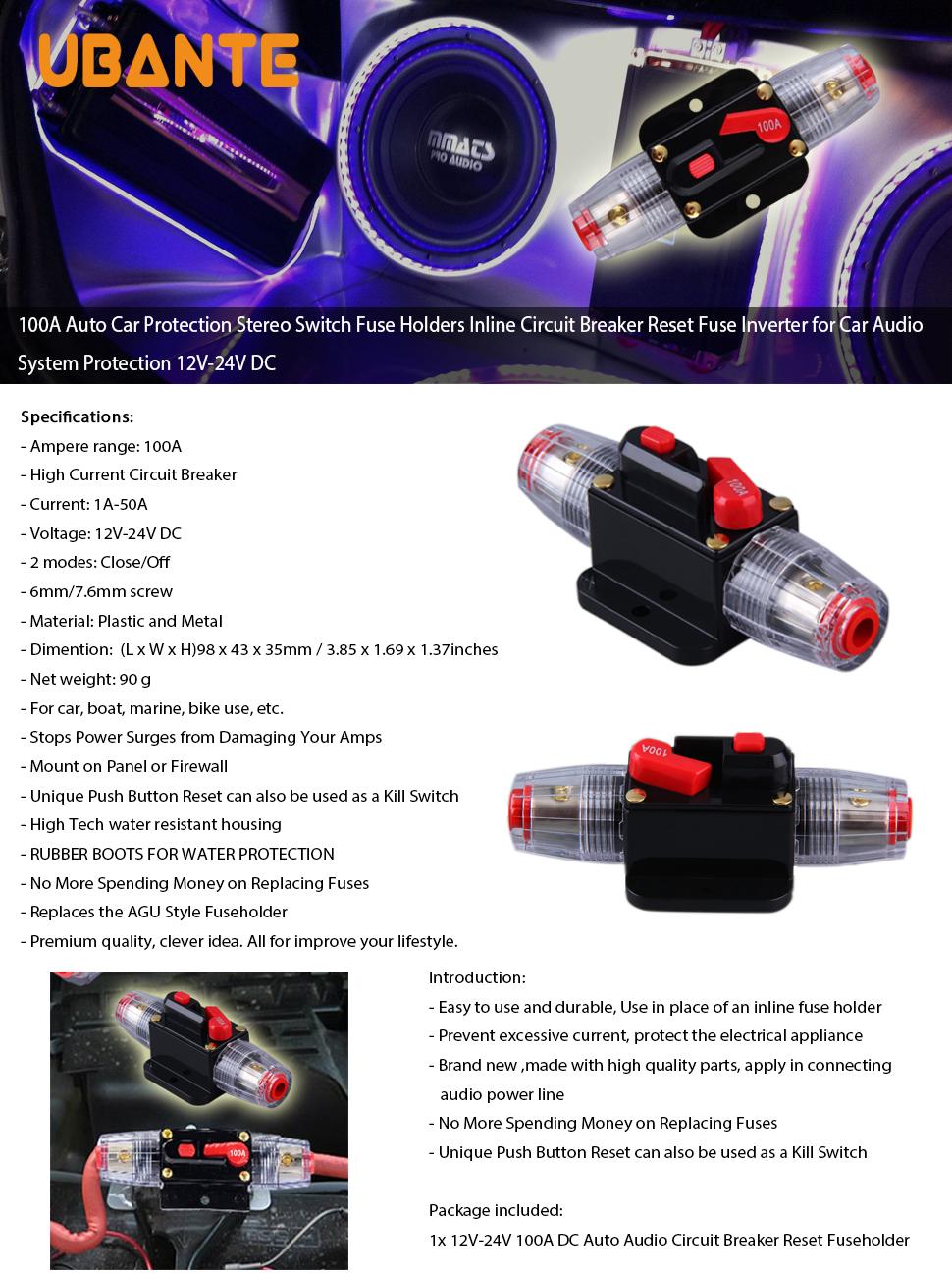 Ubante 100a Auto Car Protection Stereo Switch Fuse Automotive Circuit Breaker Reset Product Description