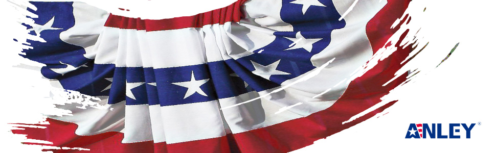 5e2ae8cf67 ANLEY USA Pleated Fan Flag, 1.5x3 ft American US Bunting Flag Patriotic  Stars & Stripes - Sharp Color and Fade Resistant - Canvas Header and Brass  ...