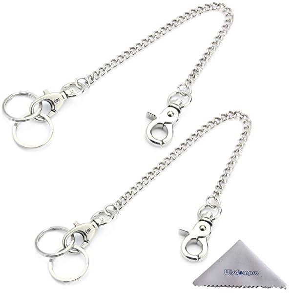 Keychain, Wisdompro 2 Pack Heavy Duty 8 Inch Pocket Keychain with Lobster Clasp and 2 Keyrings for Keys and Wallets