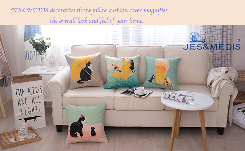 Amazon Com Jes Medis Cute Cat Theme Print Square Throw Pillow Cover Cotton Linen Spring Home Decorative Cushion Case For Bed Office Car 18 X 18 Inches Yellow Umbrella Cat Home Kitchen