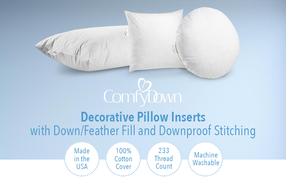 Amazon Com Comfydown Set Of Two 95 Feather 5 Down 22 X 22 Square Decorative Pillow Insert Sham Stuffer Made In Usa Home Kitchen