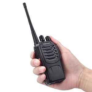 Proster Walkie Talkie Recargable 16 Canales UHF 400-470MHz CTCSS Dcs Talkie walkie con el Auricular Incorporado Antorcha de LED y Cargador USB (1 PCS)