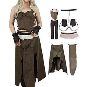 Miccostumes Women S Dothraki Kaleesi Outfit Daenerys Targaryen Brown Cosplay Costume