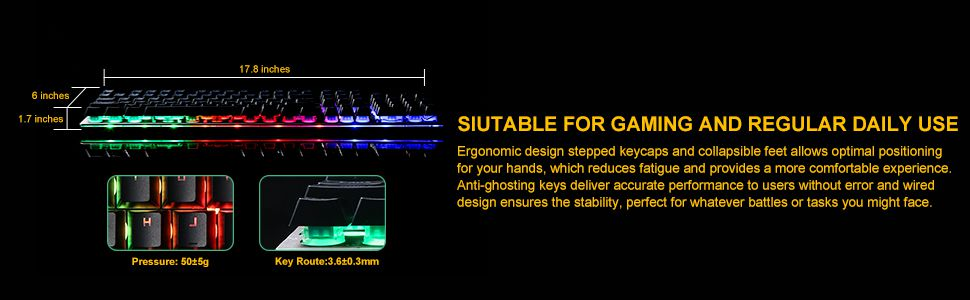 Gaming Keyboard, USB Wired Mechanical Feeling Keyboard with Rainbow LED  Backlit, Ergonomic Design Keyboard, Non-Slip, Spill-Resistant, Gaming and