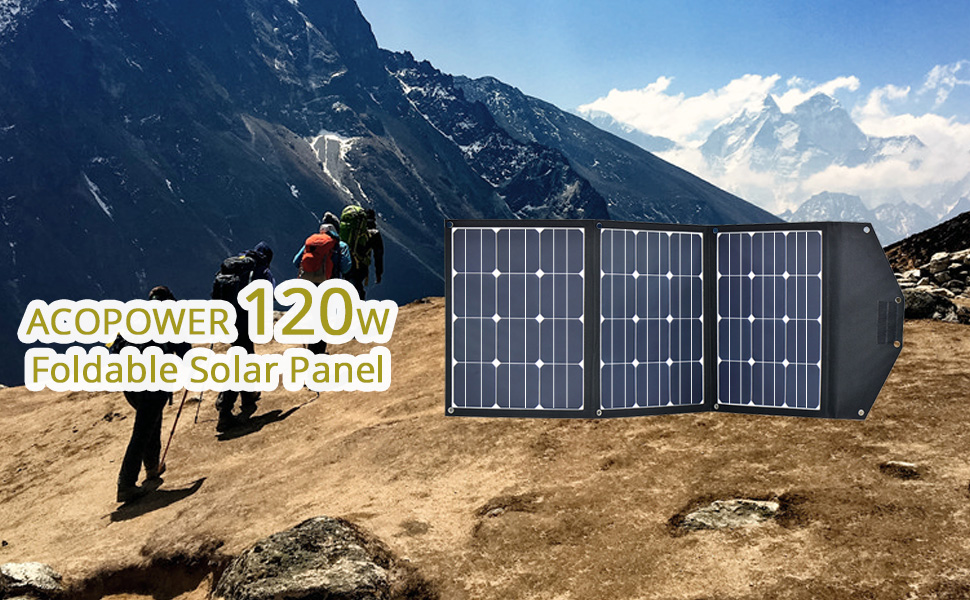 7548c2f9e827 ACOPOWER 120W Portable Solar Panel, 12V Foldable Solar Charger with 10A  Charge Controller in Suitcase
