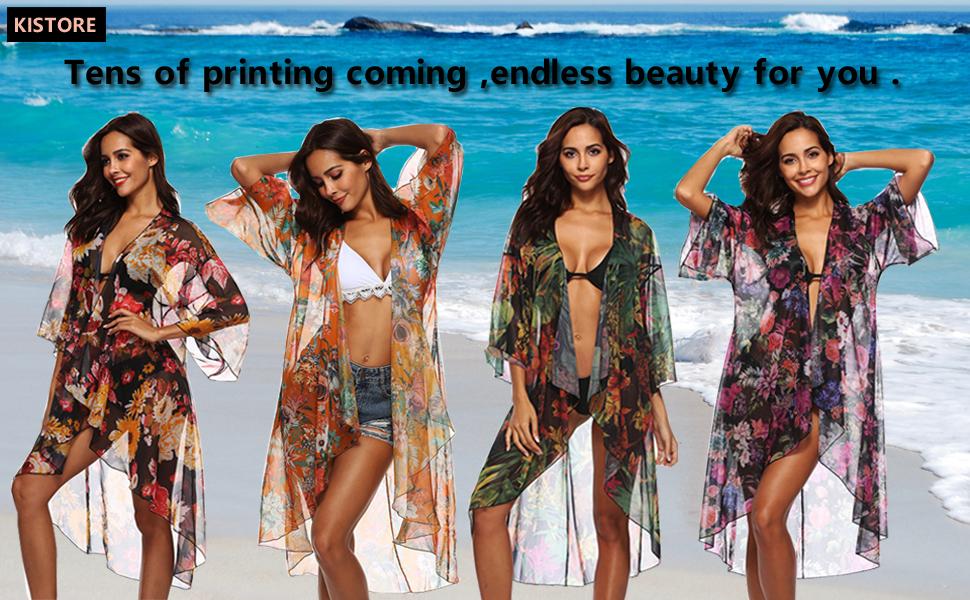 f3ac403c8a Women's 3/4 Sleeve Floral High Low Chiffon Kimono Cardigan Blouse Mesh Swim  Cover ...