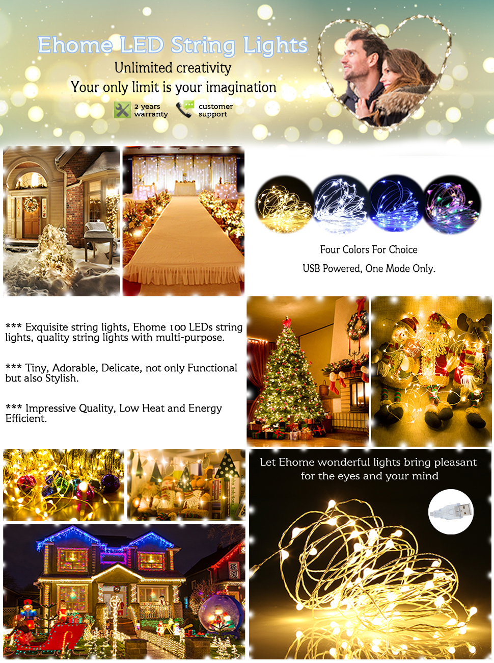 Ehome 100 Led 33ft 10m Starry Fairy String Light Wiring Leds In Series Refers To Electronic Home Which Means One Family China Our Goal Is Easy Life We Want Bring Convenience Your Daily