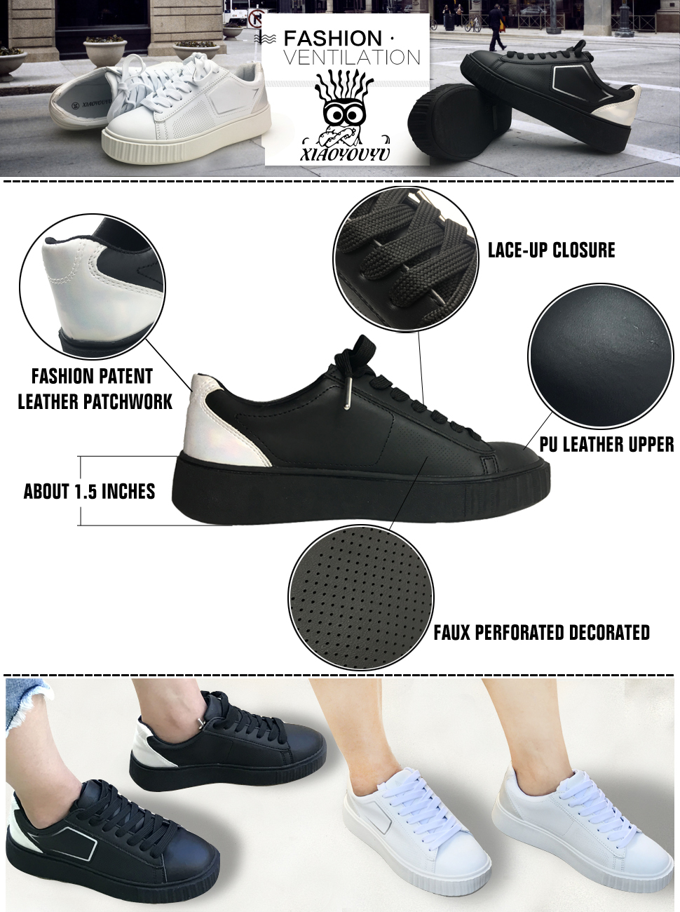 1c2cdbdb82 XiaoYouYu Fashion Sneakers For Women Faux Perforated Design PU Leather Lace  Up Flat Trainer Shoes