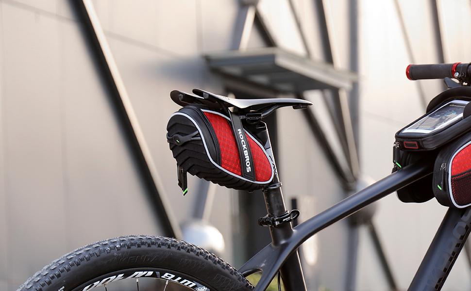 bike saddle bag red
