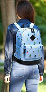 Aitbags Student Campus Bookbag College School Backpack for Girl Fit 15 inch Laptop Water-Resistant
