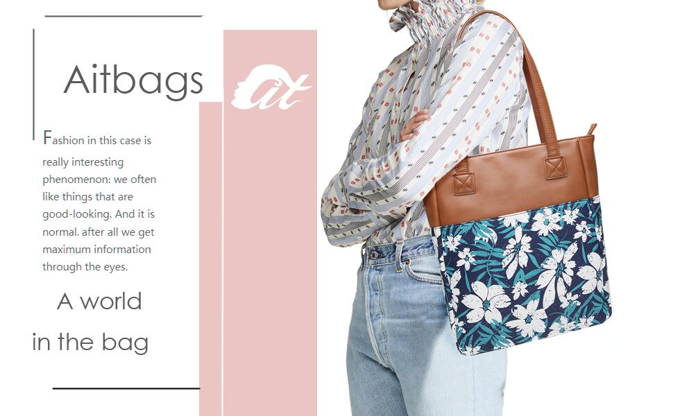 5202a0be39 Aitbags Canvas Tote Bag for Women PU Leather Floral Purse and Handbag  Shopping Bag Work Satchel