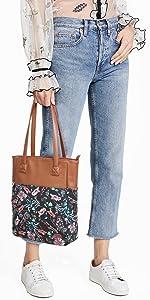 Canvas Tote Bag for Women Floral Purse and Handbag Shopping Bag Work Satchel