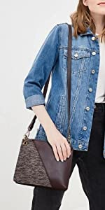 Women Crossbody Bags with Shoulder Strap 2 Compartments Messenger Purse