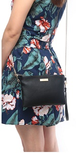 Soft PU Leather Wristlet Clutch Crossbody Bag with Chain Strap Cell Phone Purse
