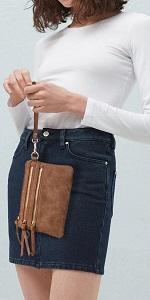 Multi-Zipper Pocket Crossbody Handbag Lightweight Purse Clutch Wristlet