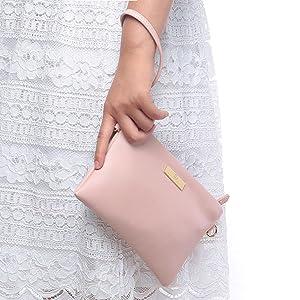 Soft PU Leather Wristlet Clutch