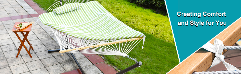 you u0027re not just buying a hammock you u0027re buying a lifestyle  stripe cotton rope hammock with 12 feet steel stand green stripe   rh   sundaleoutdoor