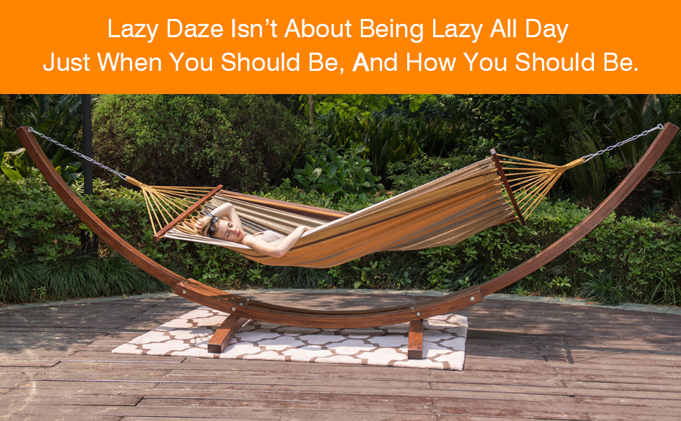 that u0027s why we created lazy daze hammocks  a hammock so genuine and yet innovative that will turn your homegarden or camping spot into an oasis of     amazon     lazy daze hammocks 12feet wood arc hammock stand and      rh   amazon