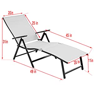 Deluxe Aluminum Beach Yard Pool Folding Chaise Lounge