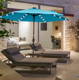 This Sundale Outdoor 9ft 24 Led Light Outdoor Market Patio Umbrella Is  Ideal For Camping, Balconies, Picnics Or Any Outdoor Space.