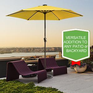 Classic Solar Patio Umbrellas With Energy Efficient Lighting.