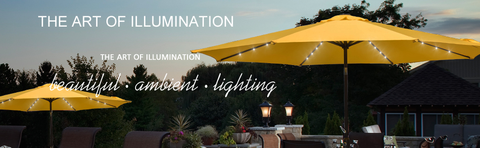 Classic Solar Patio Umbrellas With Energy Efficient Lighting.