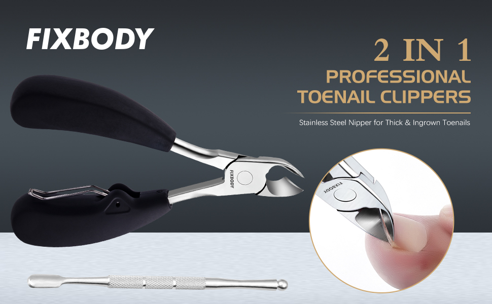 FIXBODY Professional Toenail Clipper 2 PCS Tool for Thick or Ingrown Toenails