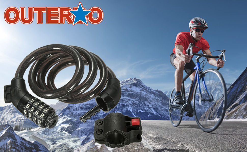Amazon.com: Bike Lock, OUTERDO Cable Lock combinación ...