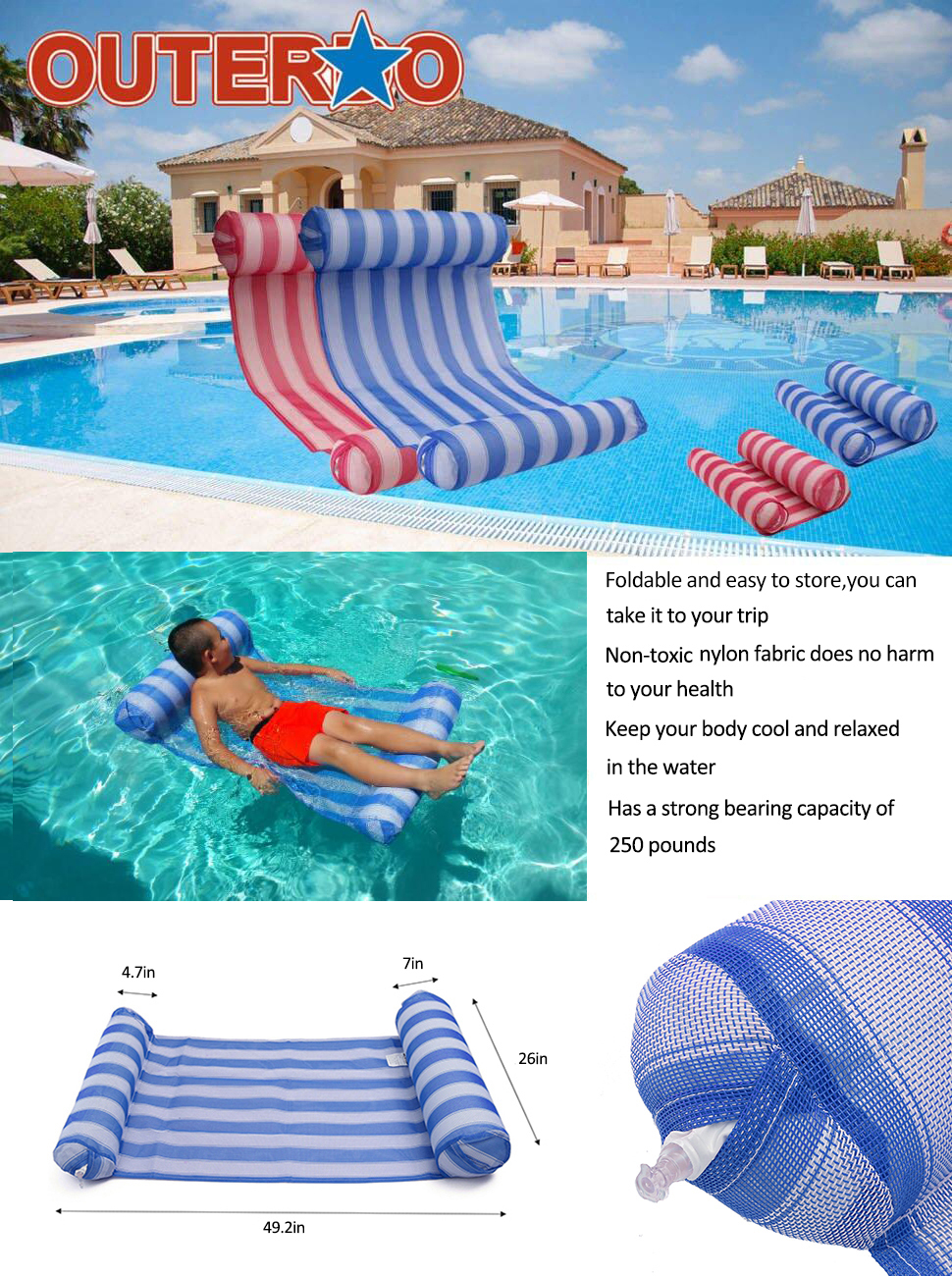 MOWE Buoyancy Rod Swimming Floating Chair Pool Seats Pool Noodle Chair Pool Floating Bed Chair for Kids /& Adults 3 Colors Blue 651500mm